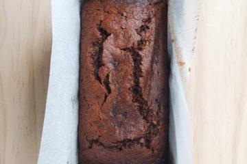 Italian Banana Breakfast Cake in the baking tin