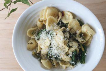 Anchovy Broccolini and Chilli Orecchiette in a white bowl