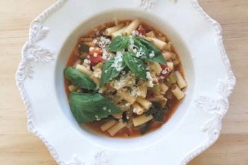 Minestrone on a white plate