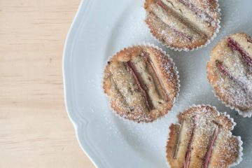 Rhubarb and Almond Muffins on a white plate