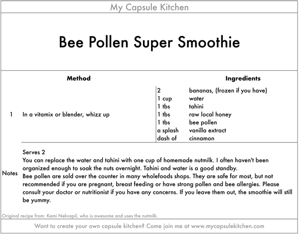 Beepollen Super Smoothie recipe