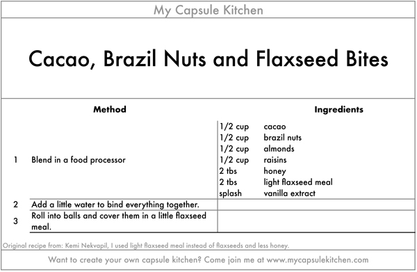 Cacao, Brazil Nuts and Flaxseed Bites recipe