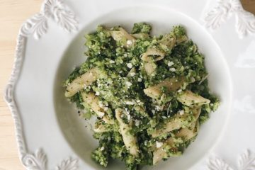 Anchovy, Broccoli and Chilli Penne on a white plate