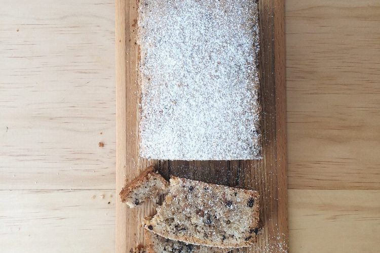 Easy Hazelnut and Chocolate Cake on a wooden board