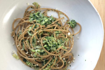 Spaghetti with Zucchini and Spinach on a white plate